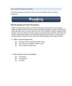 Sample Questions TOEFL Primary Step II